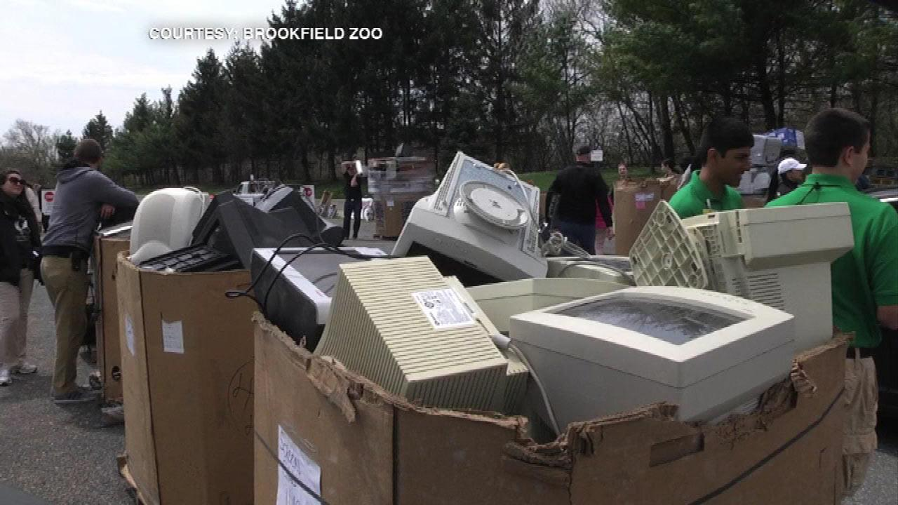 Piles of old VCRs, computers and stereo equipment were collected to recycle at Brookfield Zoo Sunday.