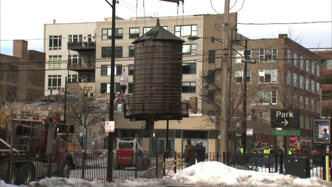 The water tower that sprang a leak prompting the evacuation of two buildings has been removed.
