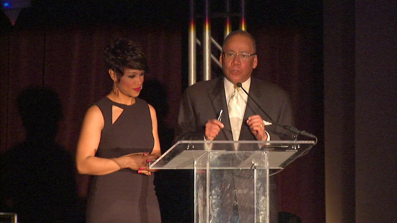 ABC 7 Eyewitness News reporter Charles Thomas and Val Warner hosted the DuSable Museum of African American Historys A Night of 100 Stars Gala.
