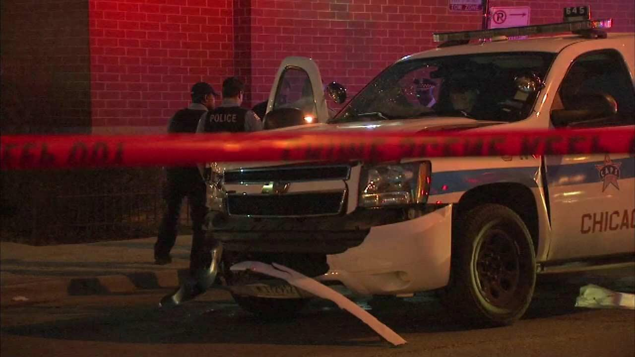 Four Chicago police officers have been hurt after two squad cars collided Friday night at 79th and Racine.
