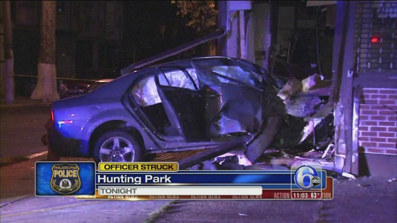 Phila. cop hit by fleeing car in Hunting Park