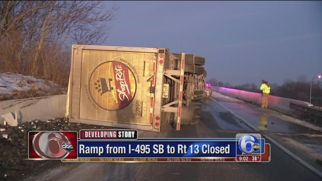 Rig overturns on ramp from I-495 to Rt 13