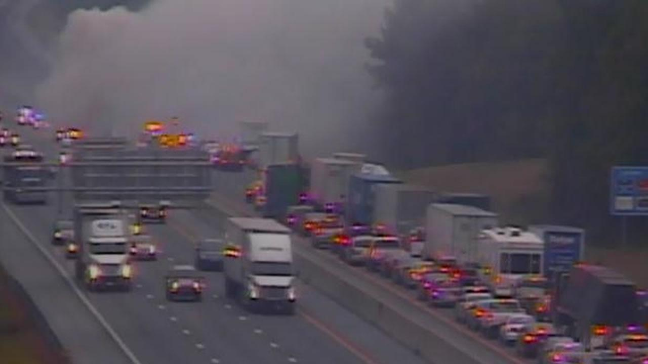 Accident with fire blocks I-40