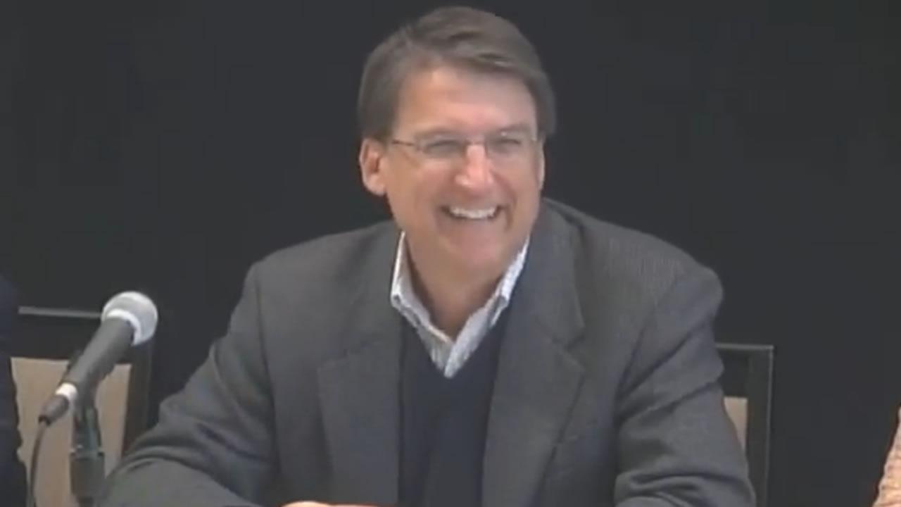 Governor-elect Pat McCrory holds a news conference on the day after his victory.