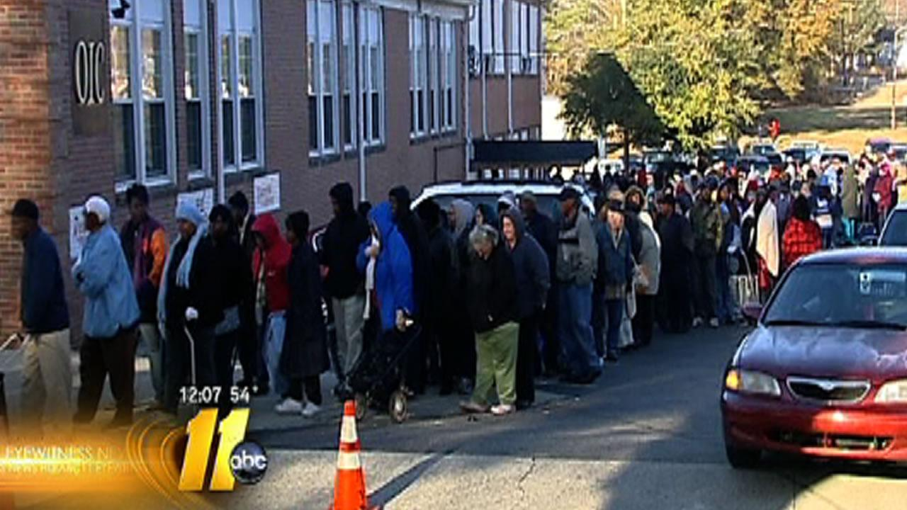 Thousands line up for food in Wilson