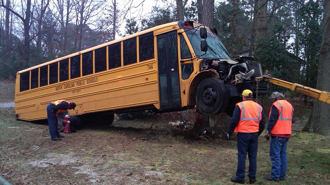 School bus crash on Fox Road in Raleigh