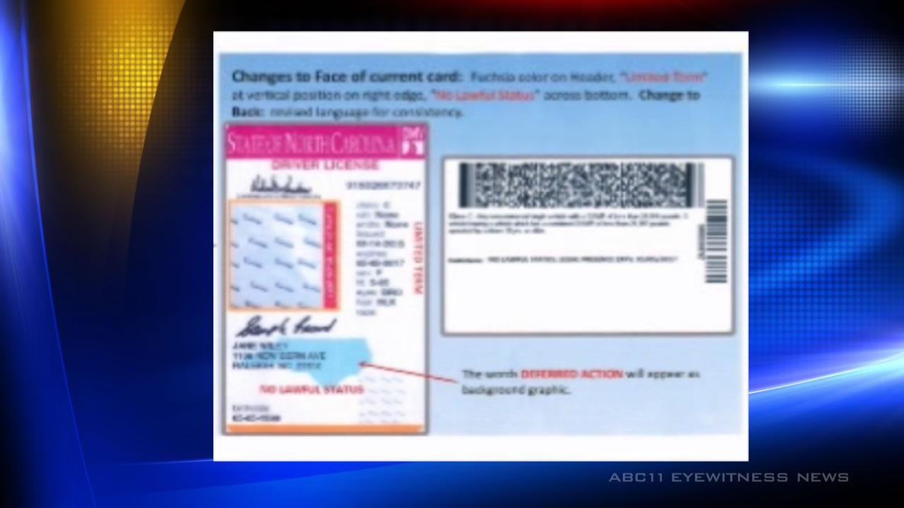 Republican Gov. Pat McCrorys administration plans to issue driver licenses with a bright pink stripe and the words NO LAWFUL STATUS to young adults participating in the federal Deferred Action for Childhood Arrivals program