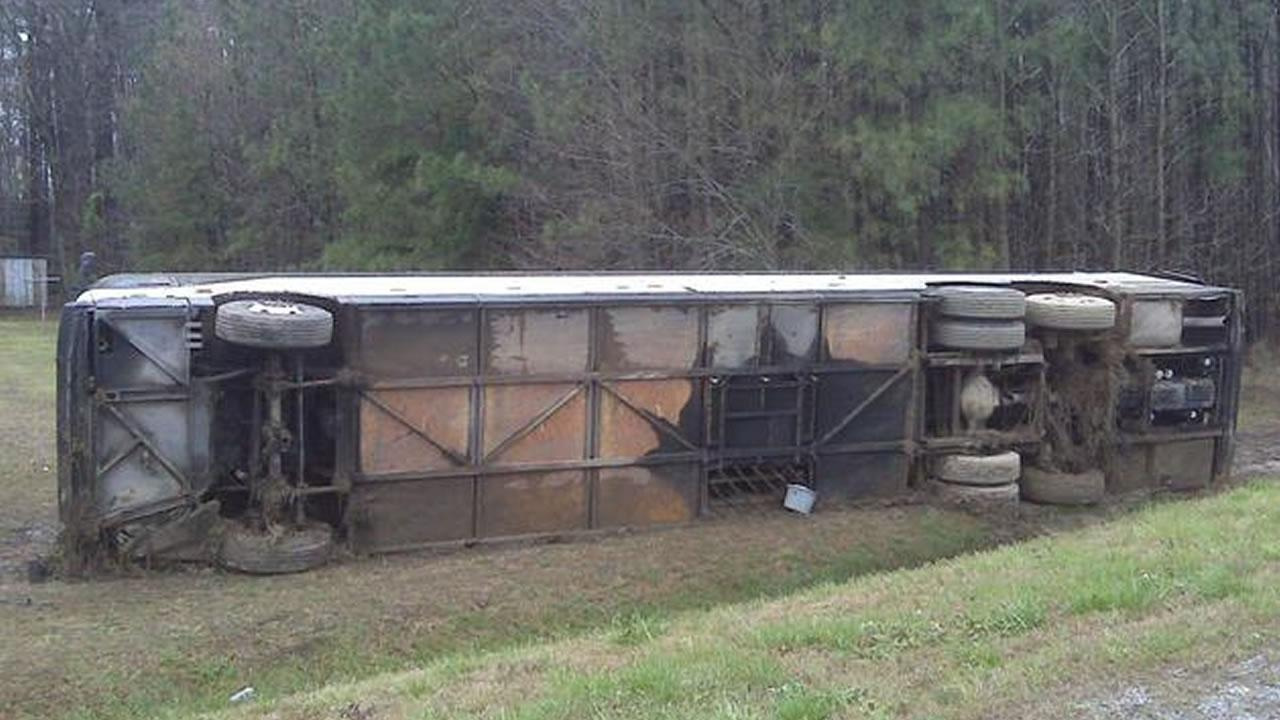 A charter bus headed from Chapel Hill to Hampton, Virginia crashed Friday morning - killing one person.