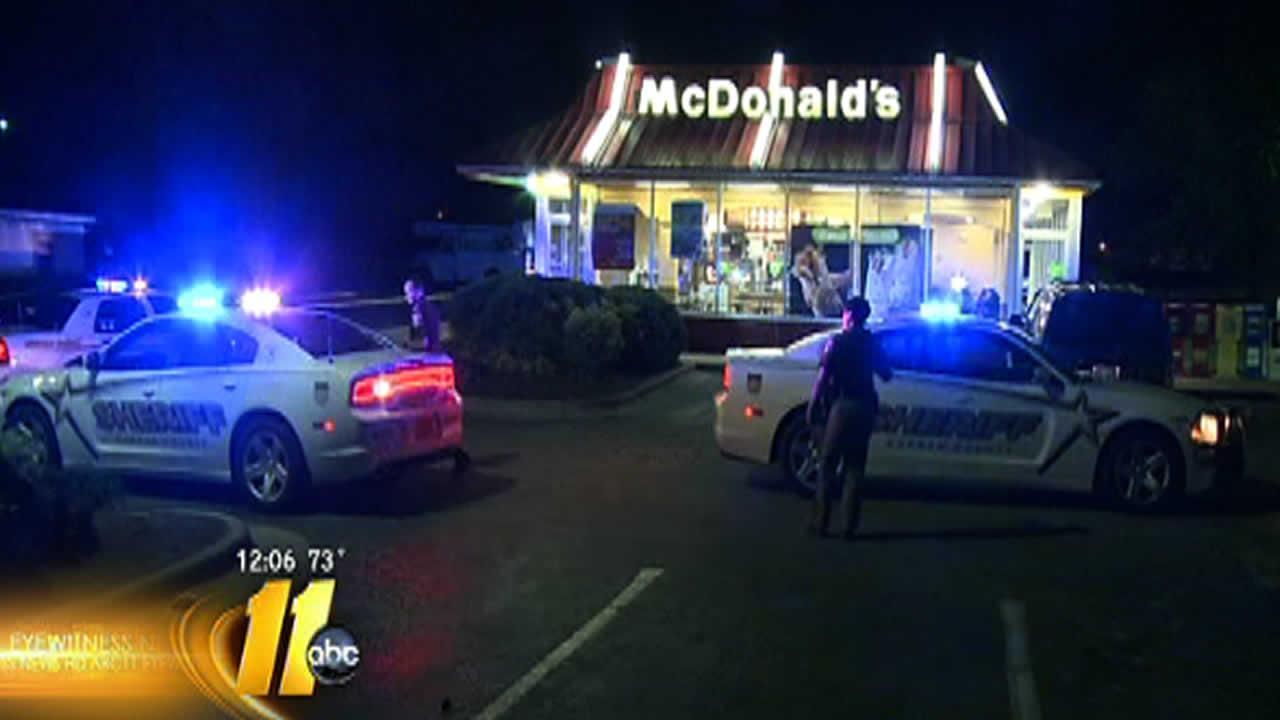 Deputies investigate at a Durham McDonalds Friday.