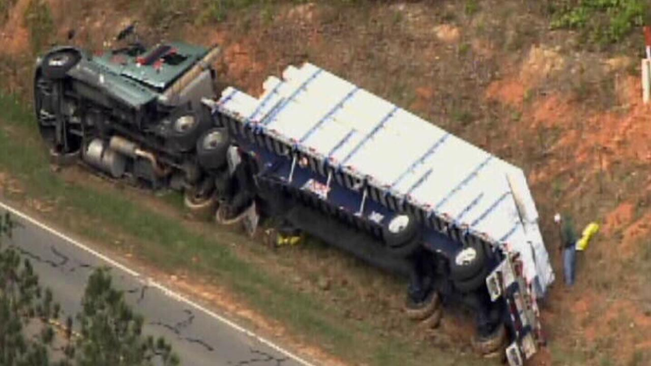 Big rig tipped over in a ditch on US 501 near Woodsdale Road in Person County