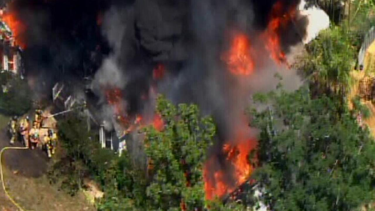 A huge fire destroyed a home south of Garner Tuesday.