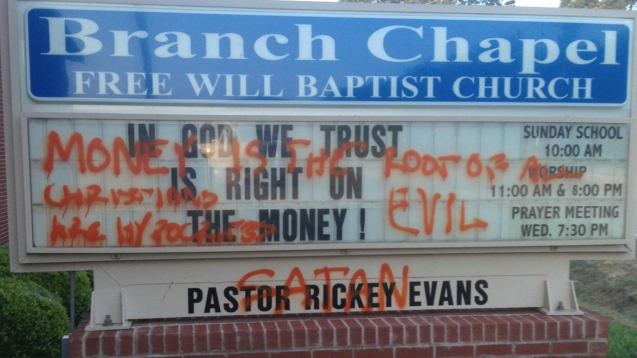 Graffiti marks the sign at the Branch Chapel Church on Highway 96 in Selma.