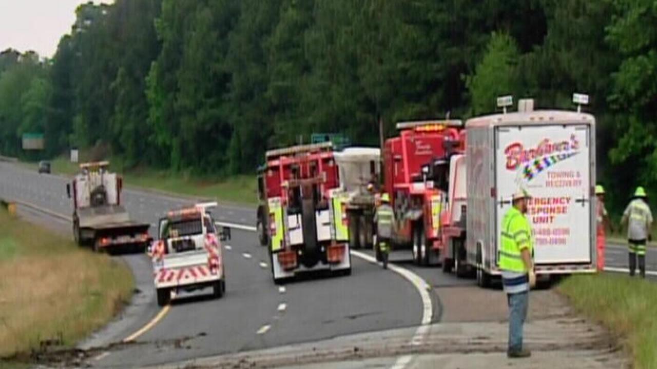 A crash involving a truck shut down I-40 westbound Monday.