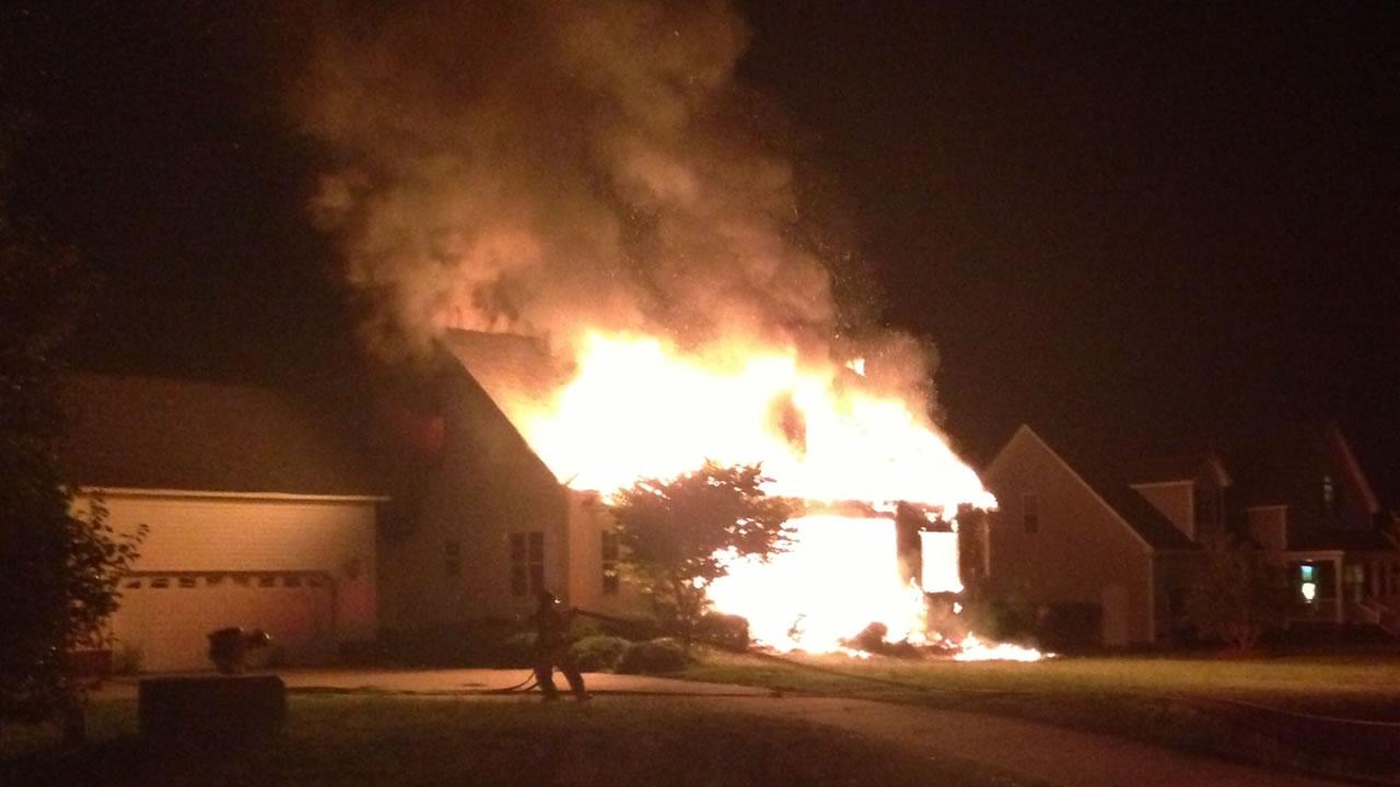 House destroyed by fire in Johnston County
