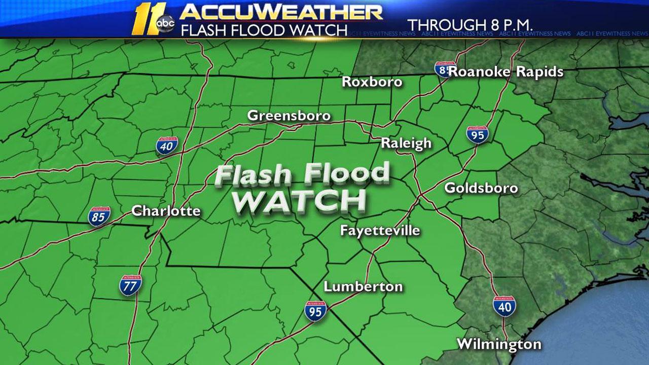 Flash flood watch, flood warning in effect as rain continues