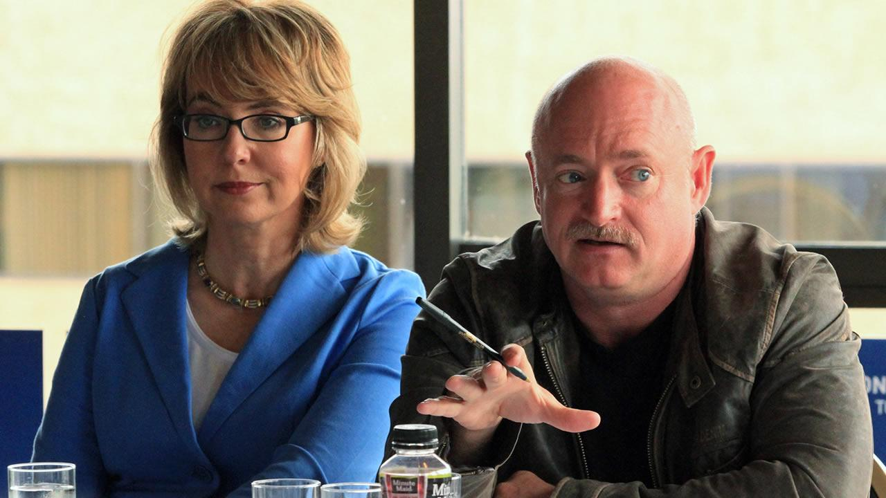 Former U.S. Rep. Gabrielle Giffords, D-Ariz., and her husband, former astronaut Mark Kelly, speak to Alaska gun owners at a roundtable meeting in the Captain Cook Hotel on Tuesday, July 2, 2013, in Anchorage, Alaska.