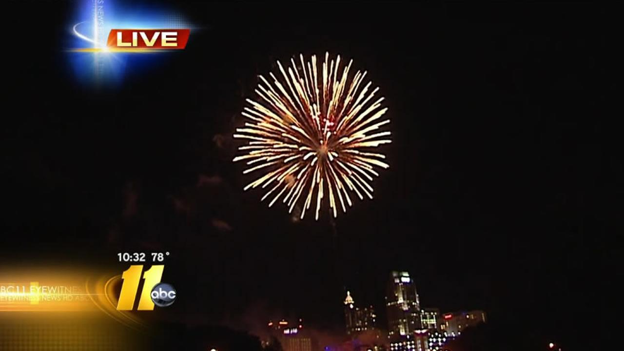 Raleigh celebrates the Fourth of July with fireworks.