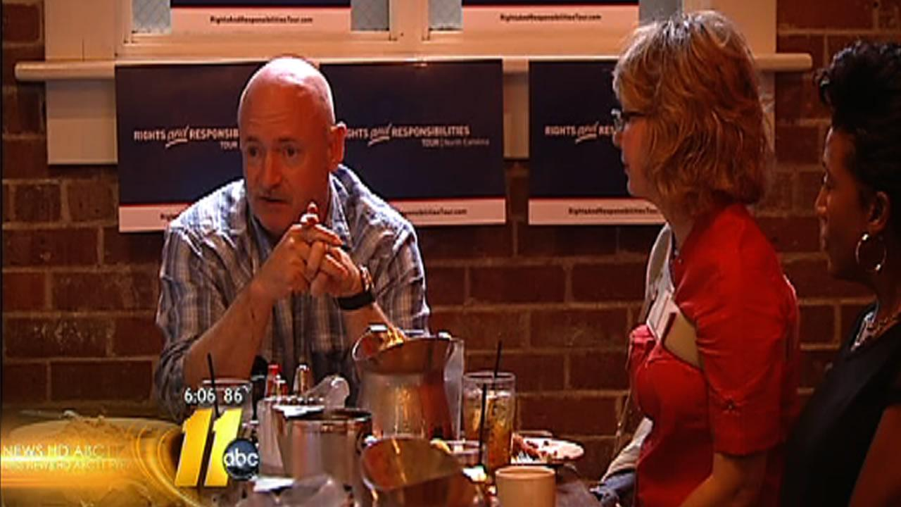Former Arizona Congresswoman Gabrielle Giffords and her husband Mark Kelly visit Raleigh.