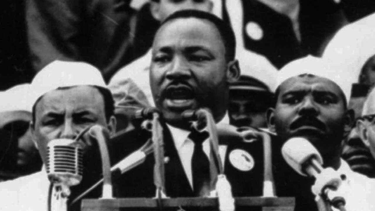 In this Aug. 28, 1963 file photo, Dr. Martin Luther King Jr., head of the Southern Christian Leadership Conference, addresses marchers during his I Have a Dream speech at the Lincoln Memorial in Washington.