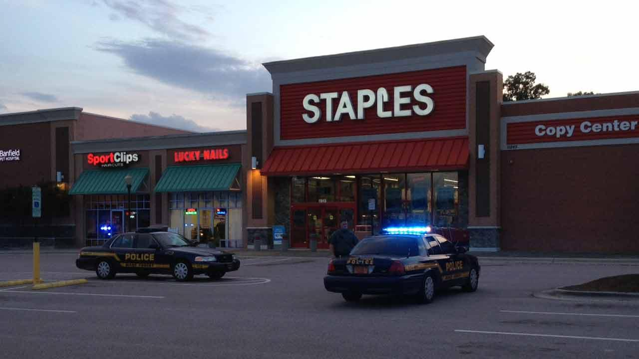 Self-inflicted gunshot wound at Staples in Wake Forest.
