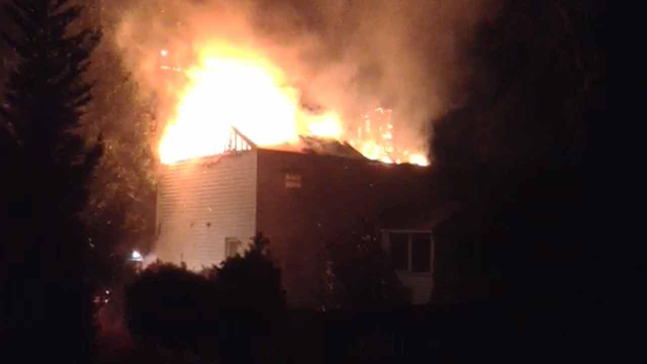 Heavy fire damaged a home on Graybark Court in Apex.