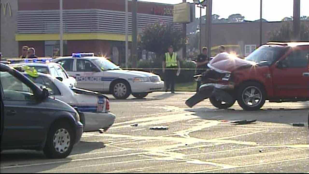Woman steals police car in Fayetteville, crashes into 3 vehicles.