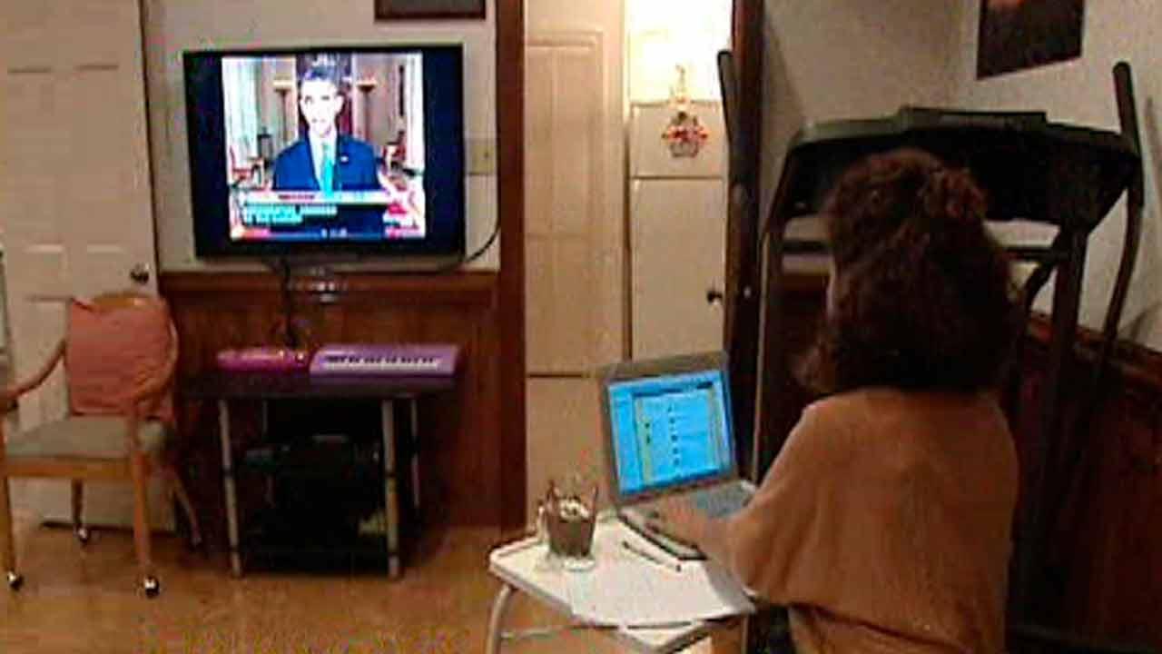 Rania Masri watching President Obamas speech on Syria.