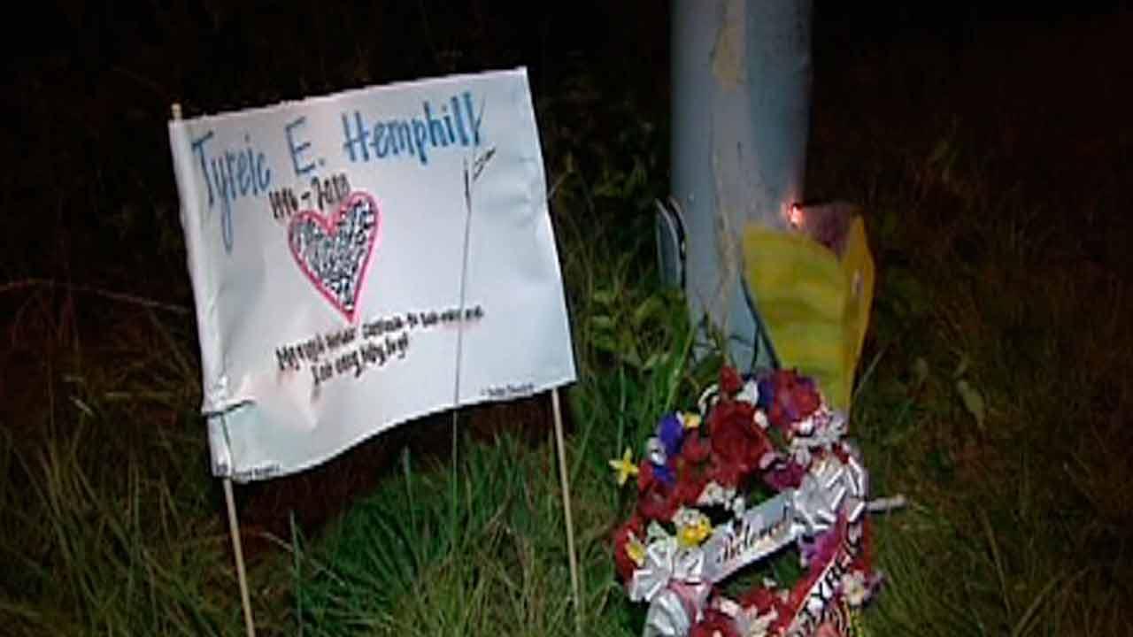A memorial marks that spot where Tyreic Hemphill died last week.