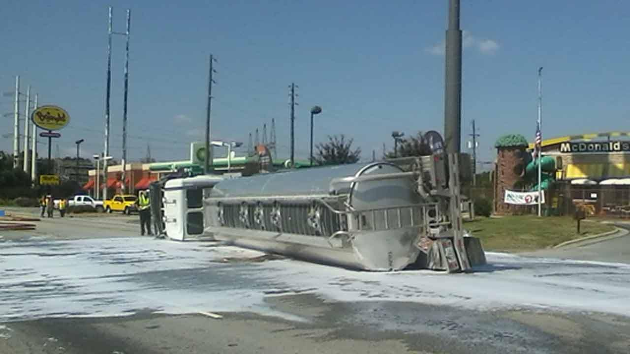 A tanker truck carrying 8,000 gallons of ethanol fuel flipped Tuesday afternoon on US Highway 70 near Hwy 301 in Selma.