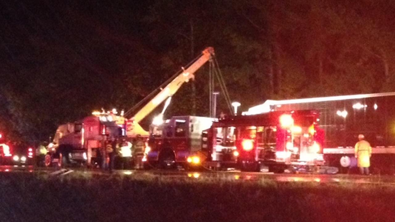 Emergency workers at the scene of a crash on I-95. (WTVD Photo/Robert Judson)