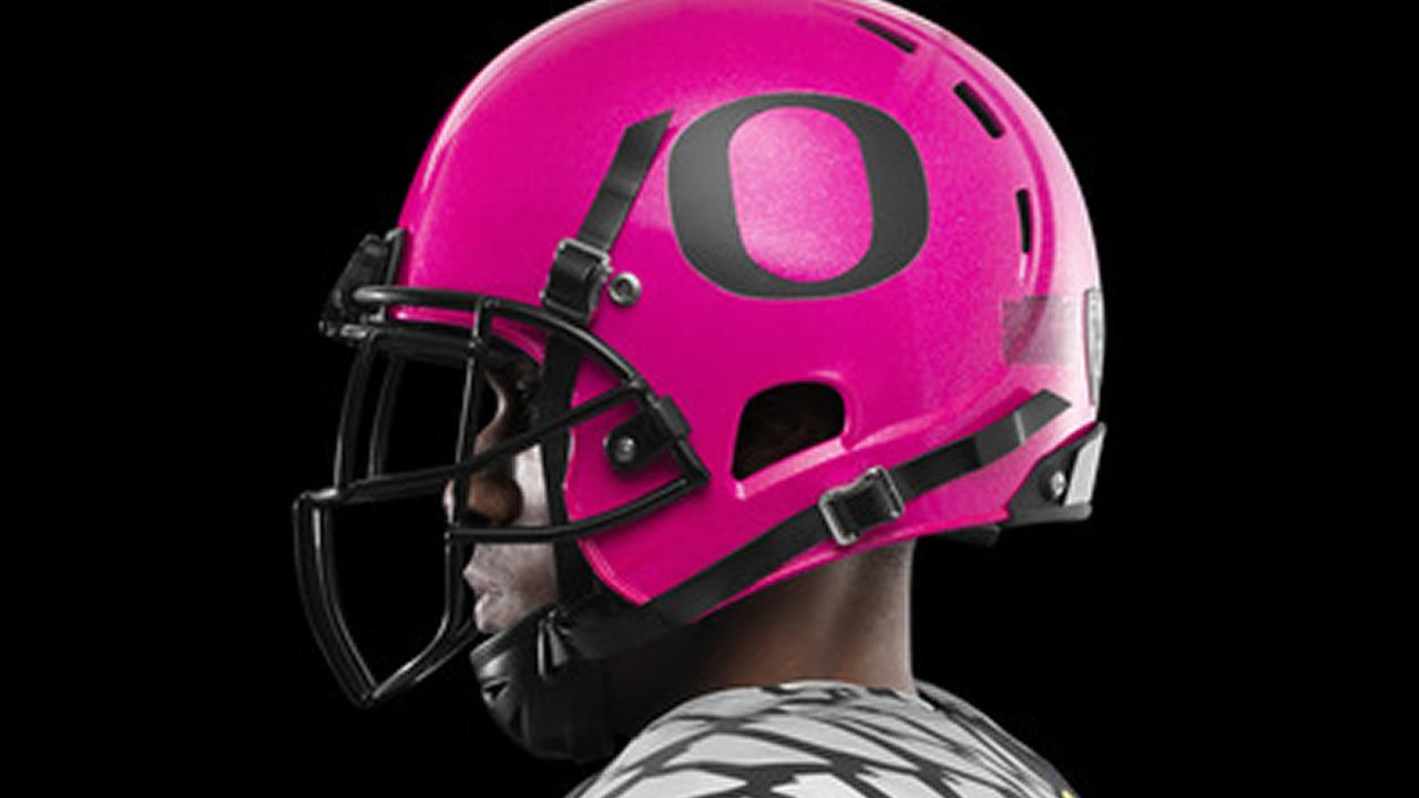 Oregon Ducks pink helmet (Image courtesy Nike)