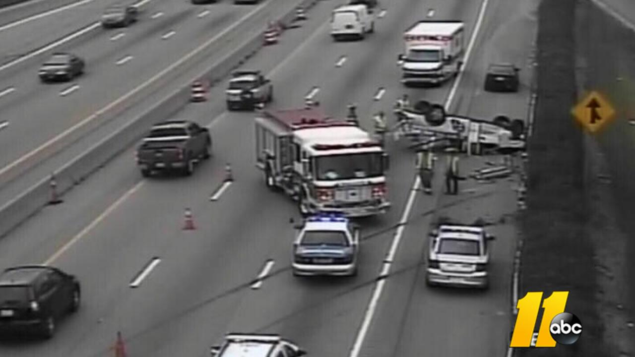Eastbound I-440 down to one lane at Wake Forest Road