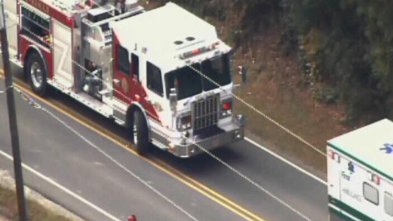 Emergency vehicles at the scene of a fatal accident near Chapel Hill.