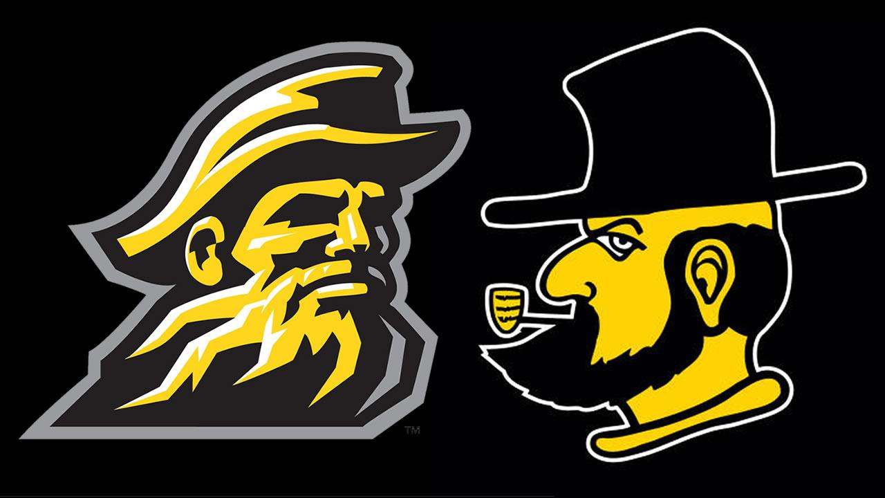 Appalachian State University says its scrapping its Yosef Head logo introduced in 1999 (LEFT) and is going back to its old Victory Yosef logo. (RIGHT)