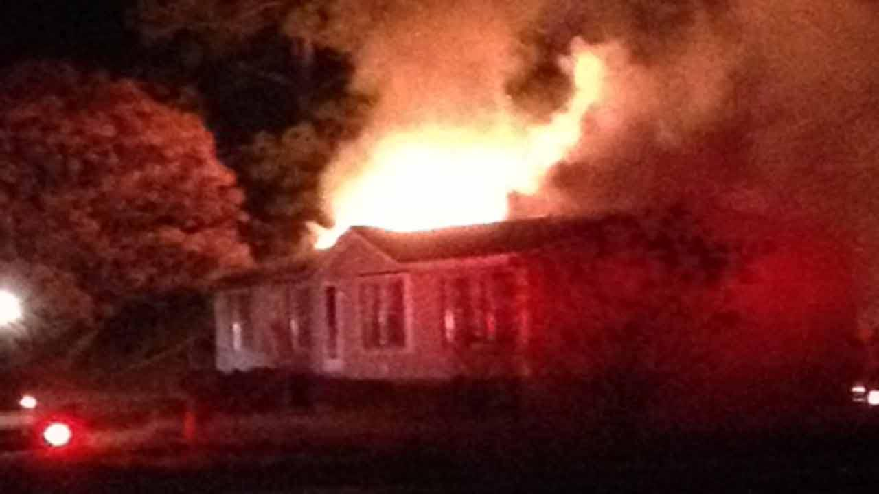 A mobile home went up in flames Tuesday evening.