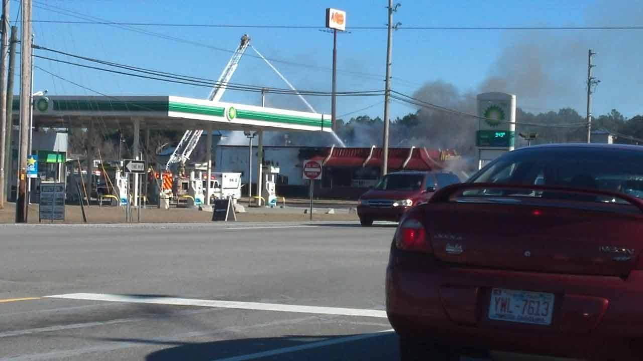 An overnight fire re-ignited Wednesday afternoon at a Wilson McDonalds.