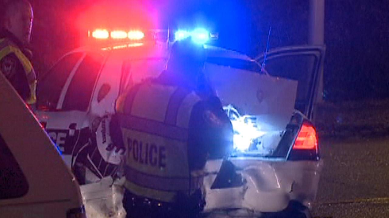 Durham police car hit