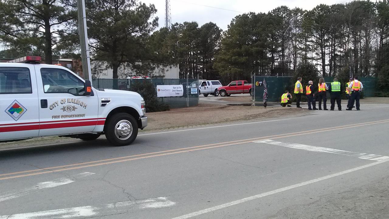 A hazardous materials team at a Smithfield recycling center.