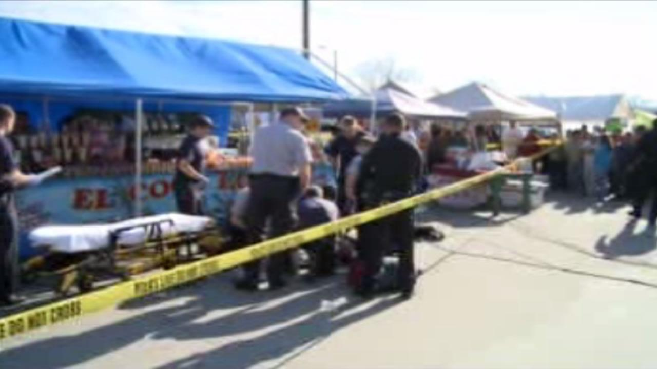 Two people were injured in a shooting Sunday afternoon at the Durham Green Flea Market