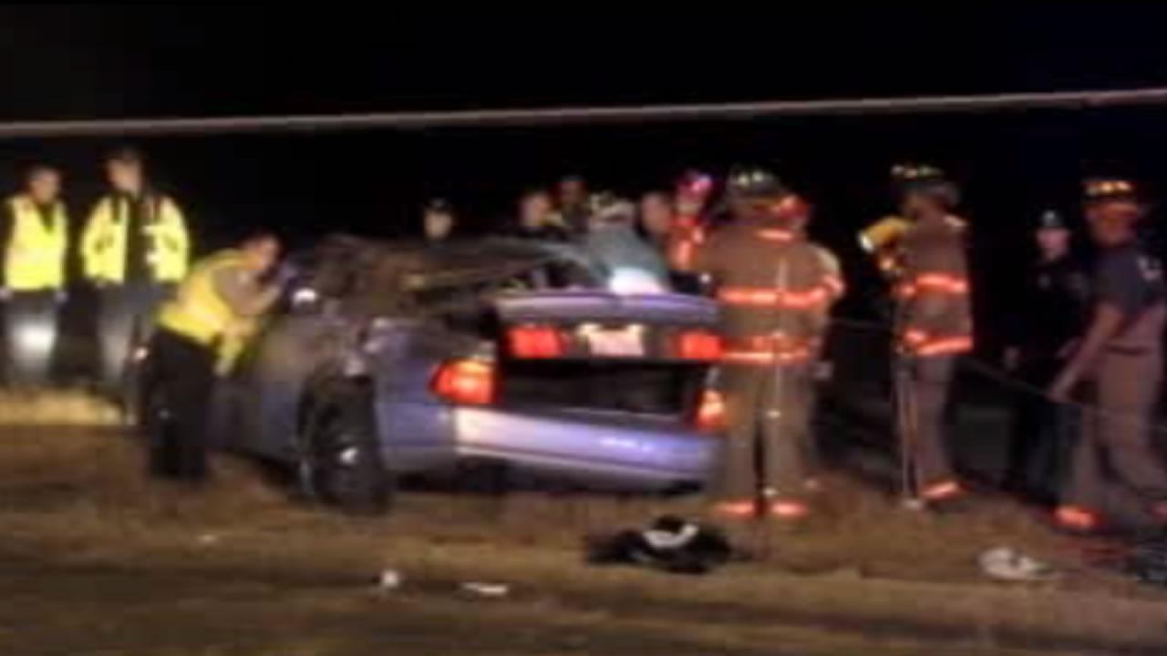 The Highway Patrol said speeds reached 90 mph in the chase before the car lost control and overturned.