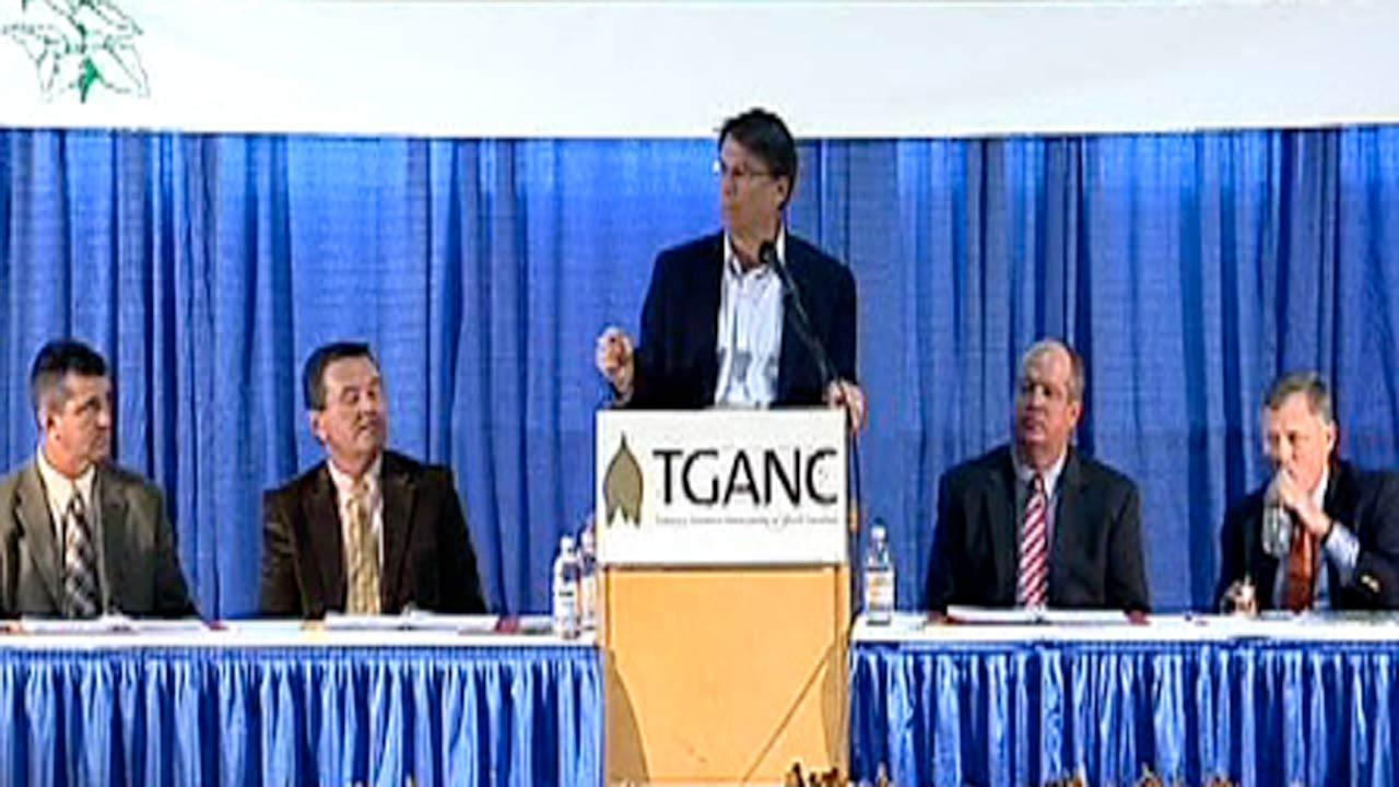 Governor Pat McCrory met with state tobacco farmers at the State Fairgrounds in Raleigh during the Tobacco Growers Association of North Carolinas annual meeting Friday.