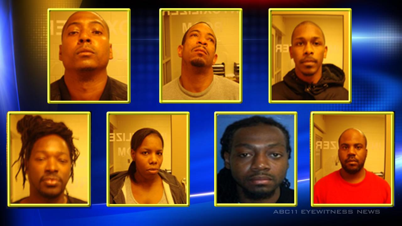 Authorities arrested seven people at a Raeford home where they found 50 grams of suspected black tar heroin valued at $20,000.