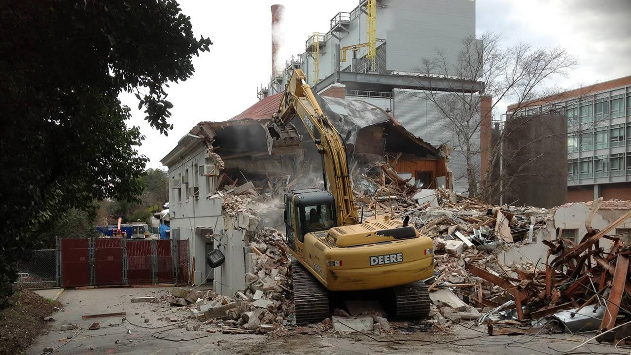 Construction crews began the process of tearing down Riddick Field House on Saturday
