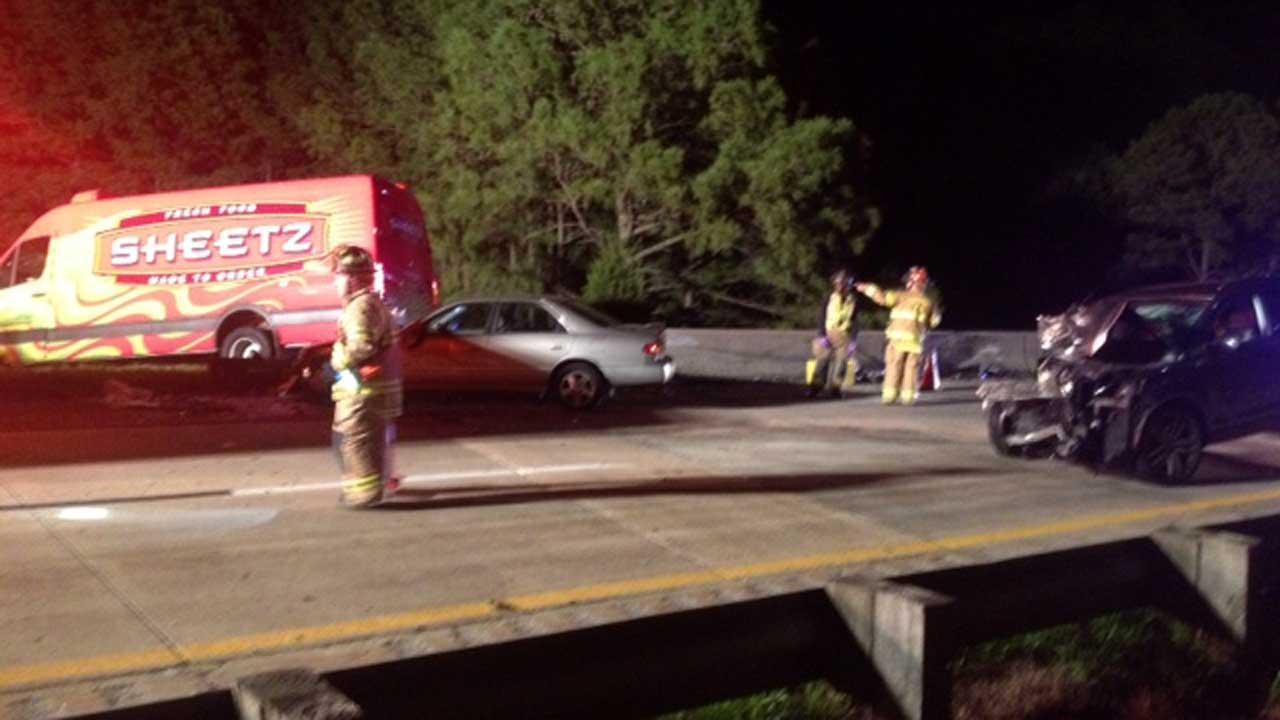 A three-car accident shut down part of Interstate 40 near US 70 around midnight Wednesday.
