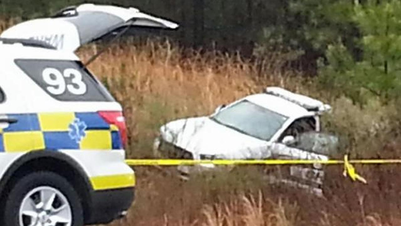 The mentally ill patient crashed a patrol car on I-540.