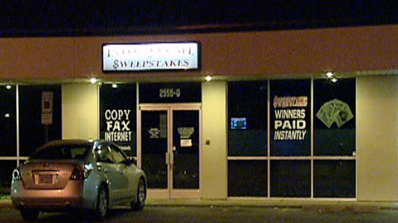 The search is on in Creedmoor for three suspects who robbed a Butner sweepstakes parlor at gunpoint Monday night.