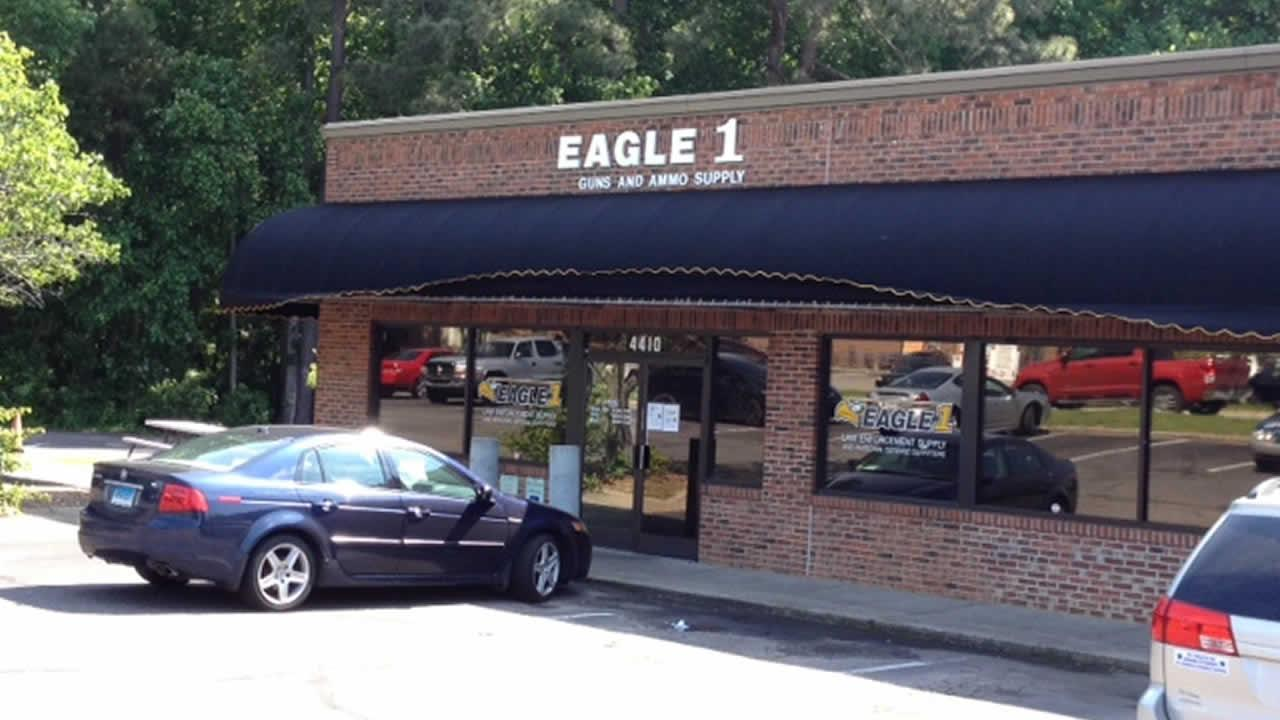 Officials told ABC11 a suspect broke into the Eagle 1 Supply gun store in the 4400 block of Craftsman Drive around 3 a.m.