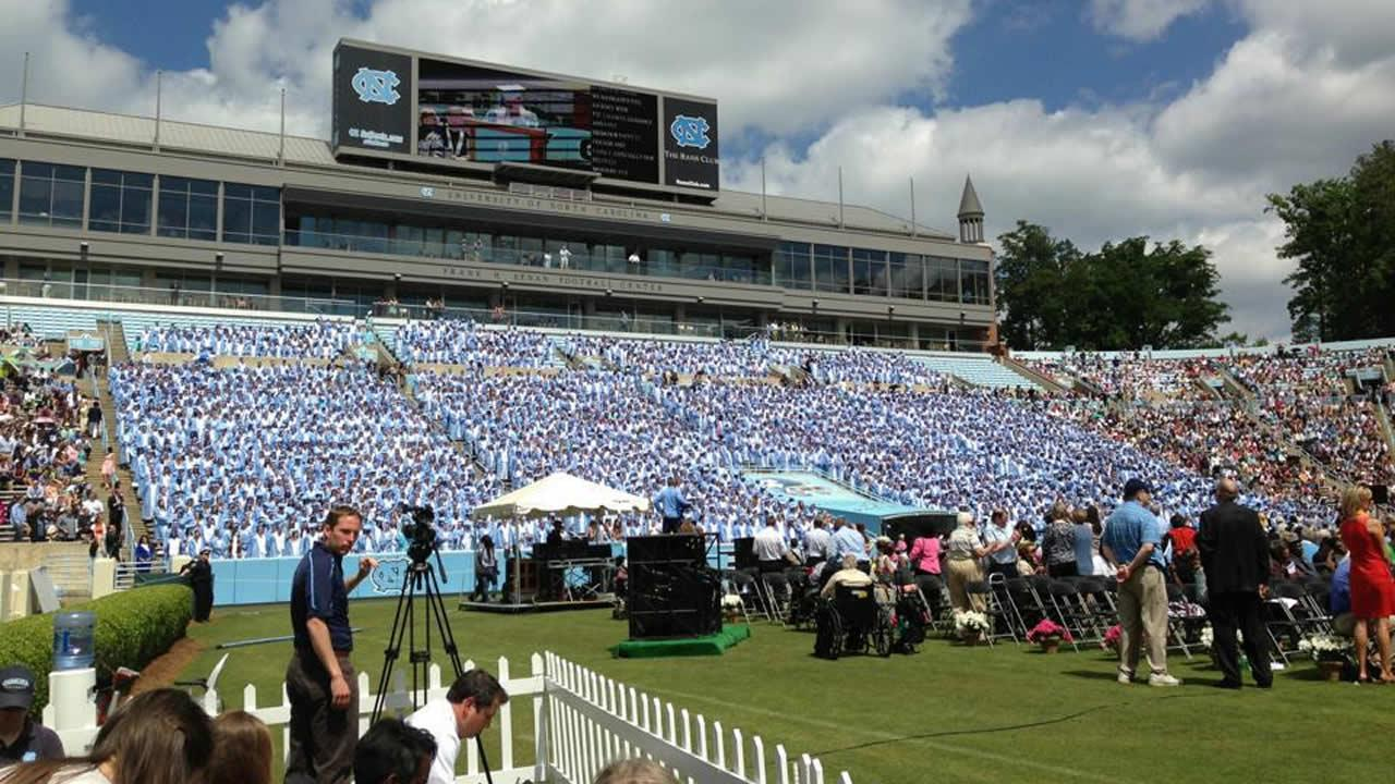A view of UNCs Class of 13, from the press area in Kenan Stadium