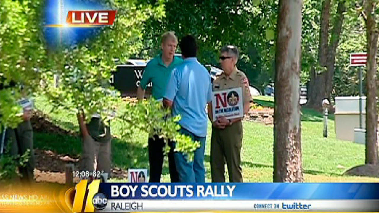 Rallies across the country were held Friday by a group against a proposed resolution being considered by the Boy Scouts of America to allow gay scouts into the organization.