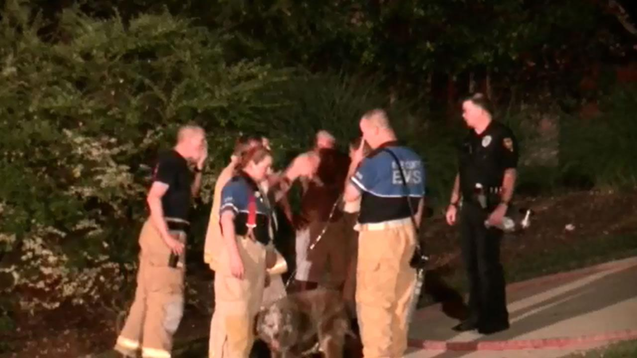 Firefighters found the familys 13-year-old dog unconscious in a bedroom but were able to revive it.